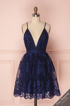 Navy Blue Deep V Neck Lace Spaghetti Straps Homecoming Dresses Short Prom Dresses SRS, This dress could be custom made, there are no extra cost to do custom size and color. Navy Blue Deep V Neck Lace Spaghetti Straps Homecoming Dresses Short Prom Dresses