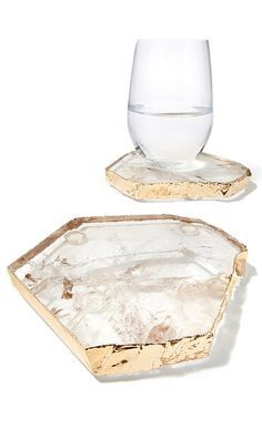 beautiful original smoky quartz, crystal rock coaster, serving appetizer plates.