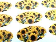 Sunflower Oval Seal Labels, Stickers For Gift Wrap, Envelopes, Bags Or Cards