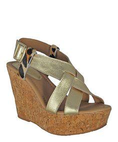 Another great find on #zulily! Gold Cork Wedge Leather Pump by Bruno Menegatti #zulilyfinds
