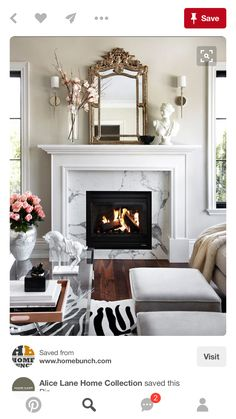 Colors. Marble fireplace.
