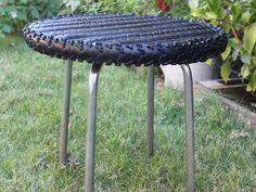 La table pneu Vélo, VTT, pneu, bois, métal, table, table basse, table d'appoint