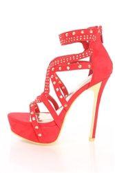 Alba Alice-2 Red Studded Platform High Heels Faux Suede