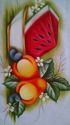 Fruit Painting, Tole Painting, Fabric Painting, Pictures To Paint, Art Pictures, Diy And Crafts, Arts And Crafts, Fabric Paint Designs, Decoupage Paper