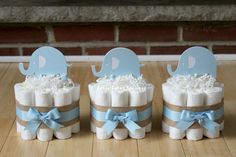 Set of 3 Mini Light Blue Elephant Diaper by BabeeCakesBoutique
