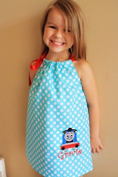 Aqua and Red Thomas the Train Birthday Pillowcase Dress Appliqued Monogrammed Toddlers Girls Clothing clothes