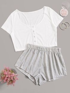 Shop Eyelet Detail Crop Top With Shorts PJ Set at ROMWE, discover more fashion styles online. Cute Lazy Outfits, Sporty Outfits, Stylish Outfits, Girls Fashion Clothes, Teen Fashion Outfits, Girl Outfits, Fashion Sets, Emo Fashion, School Outfits