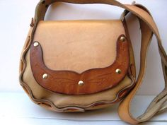 Small Leather Purse Vintage 1970s  Hand Tooled by TooTooKute, $38.00
