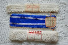 Vintage French lace, wrapped unused old new stock, original labels, lace with labels, 3 lace bundles, French lace, collectors lace bundles 3