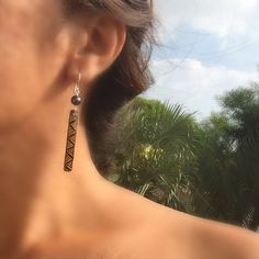 Wood Earrings Moena-ʻOhe Kapala Wood Series: by TidalTrendz