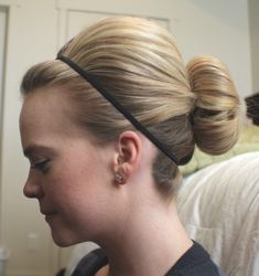 Bun. Easy and cute for shoulder-length hair. Probably wouldn't work for me, though.
