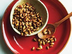 Sweet and Spicy Pumpkinseeds | These pumpkinseeds make a delicious snack that delivers a slight sweetness with a kick thanks to the chipotle chili powder and red pepper. For even more kick, add an extra 1/8 teaspoon ground red pepper.