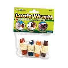 $4.16-$1.78 Ware Pine and Loofa Wraps Small Pet Fun Chew Treat, Pack of 4 - This loffa wraps are a tasty wood chew wrapped in a crispy loofa crust that small pets love. These crispy loofa crust that small pets love. Made of pine and loofa, these wood chews are fruit flavored to encourage healthy chew time activity. Small pets will nibble, gnaw, toss and chase these enticing loofa wraps. Fits trea ...