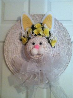 Easter Bunny Straw Hat Wreath Shelly S Decor And More