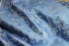 "60"" Wide, Cotton Damask, ""Shades of Blue"" Crosswoven Damask Floral, 100% Cotton"