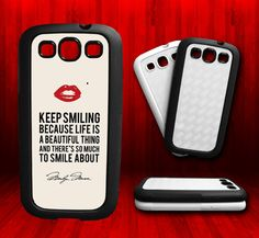 Marilyn Monroe Smile Quote   Samsung S3 Rubber by CustomizeMeAz, $18.00