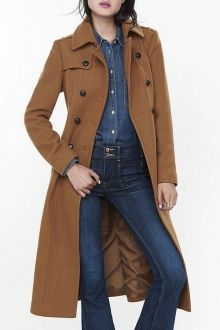 Long Sleeve Double-Breasted Wool Coat