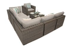 Here we have our Ascot Rattan Modular Daybed Sofa Set for your viewing pleasure. This is the crème de la crème of our rattan ranges featuring extra wide and extra deep sofa units which has our chucky realistic PE rattan weave. Rattan Corner Sofa, Modular Corner Sofa, Corner Sofa Set, Modular Sofa, Furniture Sofa Set, Rustic Living Room Furniture, Rattan Garden Furniture, Outside Furniture, Outdoor Sofa Sets