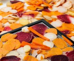 HCG How to Make Crisp Dehydrated Vegetable Chips (use only no carb veggies and low sugar - beets, zucchini, radish, parsnips) Visit Us To Know Dehydrated Vegetables, Dried Vegetables, Fruits And Veggies, Dehydrated Vegetable Chips Recipe, Dehydrated Food Recipes, Dehydrated Zucchini Chips, Vegetable Crisps, Canning Recipes, Raw Food Recipes