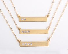 Gold Birthstone Bar Necklace with Diamond Crytals. Represent your Blessings, Balance, Family, Children, Birthdays