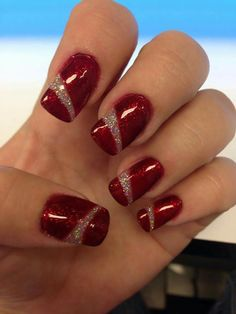 Most popular funky gel nails designs Ideas Christmas Gel Nails, Holiday Nails, Fancy Nails, Red Nails, Gorgeous Nails, Pretty Nails, Gel Nail Art Designs, Nagellack Design, Best Acrylic Nails