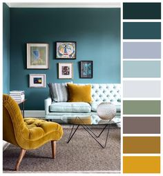 Shades of Blue with a Pop of Mustard Yellow.