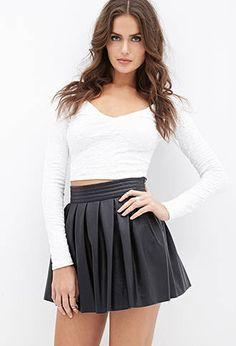 Pleated Faux Leather Skirt | FOREVER21 - 2055878321