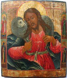"""IC.XC__ """" Καλος Ποιμενας""""            Christus als Goede Herder, Icoon uit Rusland, 19de eeuw (Zoetmulder Iconen)"""