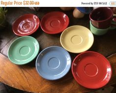Summer Sale 6 Homer Laughling Fiestaware plates 3 red 1 by EMTWTT