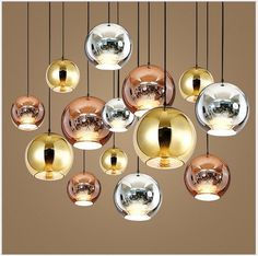 7 Size Plating Mirror Glass Ball Lampshade Modern Ceiling Pendant Light 3 Colour