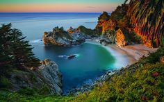 Télécharger fonds d'écran L'amérique, 4k, océan, coucher de soleil, la côte, le port, Californie, états-unis