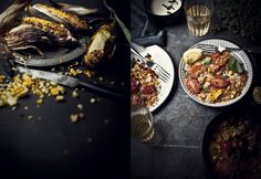 BBQ sweetcorn with Harissa spiced chicken and toasted Quinoa salad with marjoram and lemon, lemon yoghurt dressing.