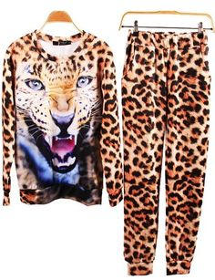 Fashion Lion Leopard Tiger Printed Sweat Hoodie Tops Suits For Women Girl Tops For Leggings, Leggings Are Not Pants, Pullover, Sweater Hoodie, Large Size Clothing, Suits For Women, Clothes For Women, Leopard Sweater, Leopard Face