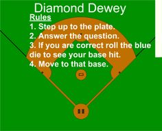 SMARTBoard Dewey Baseball Game Diamond Dewey