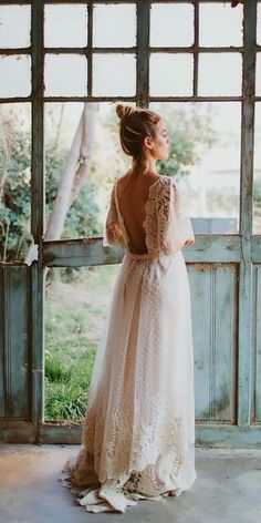 36 Boho Wedding Dress Options To Blow Everyone Away (Updated - Bohemian backless wedding dress. A Boho wedding dress is a must this season! Try on different varia - Boho Wedding Dress With Sleeves, Diy Wedding Dress, Backless Wedding, Wedding Bells, Wedding Gowns, Wedding Bride, Dress Sleeves, Dream Wedding, Gothic Wedding