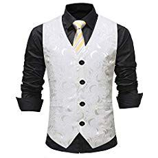 Ybang Men S Vintage Waistcoat Jacquard Pattern Regular Fit Wedding Vest Wd001 Ivory Xxxl Mens Fashion Wear Mens Fashion Suits Mens Formal Wear