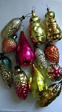 Antique CHRISTMAS silver glass ornaments 12 ITEMS
