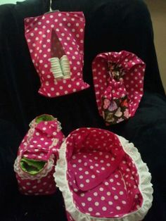 Baby doll moses basket, diaper bag, diaper stacker, & baby doll sling I made for my neice