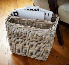 grey wicker magazine basket