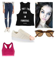 """Untitled #121"" by regina-louisse ❤ liked on Polyvore featuring Topshop, adidas Originals, Ray-Ban and NIKE"