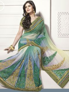 Green and Blue Net #Saree with #Blouse @ $147.11 | Shop Here: http://www.utsavfashion.com/store/sarees-large.aspx?icode=slsme59