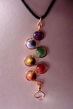 7 Chakra Pendant  Copper Wire Wrapped  Semi Precious