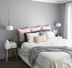 Scandinavian Bedroom Design Scandinavian style is one of the most popular styles of interior design. Although it will work in any room, especially well . Pretty Bedroom, Dream Bedroom, Home Bedroom, Bedroom Decor, Master Bedroom, Grey Wall Bedroom, Bedroom Feature Walls, Gray Room Decor, Modern Bedroom