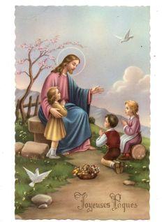 CPSM FANTAISIE JOYEUSES PÂQUES Jésus enfants colombes fleurs PHOTCHROM - EUR 2,00. CPA POSTCARD POSTKARTE TARJETA CARTOLINA SEULS LES DEFAUTS NON APPARENT AU SCAN SONT MENTIONNES Economisez sur les frais d'envoi, groupez vos achats ! SATISFAIT OU REMBOURSEDélai de rétractation : 14 joursRemboursement après renvoi de l'objet à vos fraisPAIEMENTSChèque personnel (banque française uniquement) IBAN : POUR LES PAIEMENTS EN EURO ET DANS LA ZONE EURO PAYPAL… Image Jesus, Beast Wallpaper, Illustrations Vintage, Religious Photos, Pictures Of Jesus Christ, Easter Religious, Blessed Mother Mary, The Good Shepherd, Angel Pictures