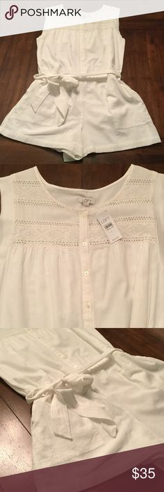 NWT Loft Romper Adorable white romper from Ann Taylor Loft. New with tags. One belt loop is missing but not essential for wearing belt. Feel free to ask questions! LOFT Dresses