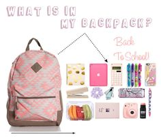 """""""What is in my backpack?"""" by juliateodora ❤ liked on Polyvore featuring Sugar Paper, Casetify, ASOS and Fuji"""