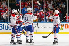Habs vs Isles - Larry celebrates his goal with PK, Patch and Gally - Photo by Mike Stobe/NHLI via Getty Images Golden Knights, Montreal Canadiens, Nhl, Hockey, Sports, Larry, Passion, Hs Sports, Sport