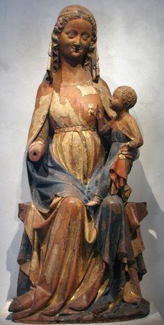 Scultore francese - Vergine e il Bambino seduti - ca. 1300-50 - Noce  verniciato con dorature - Metropolitan Museum of Art