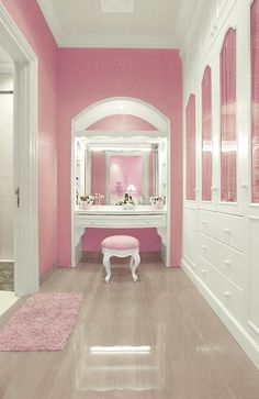 idea for my walk-in closet. pink walls. my vanity & closet furniture is white so this would look great.