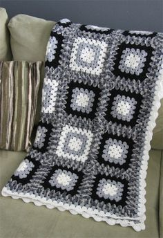 crochet blanket black white grey granny square acrylic yarn bedding  Crochet Blanket Black And White